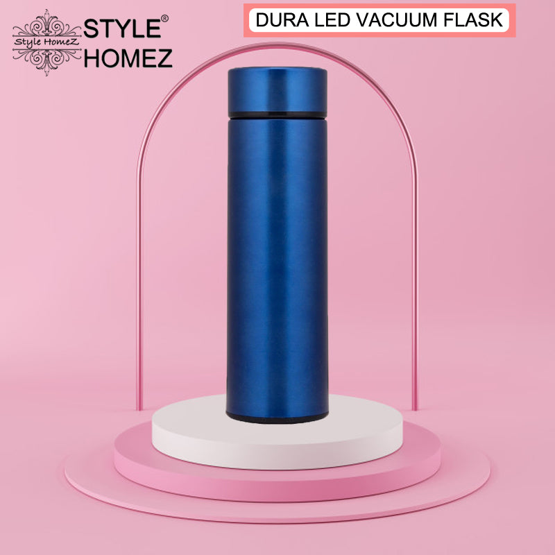 Style Homez DURA, Smart Double Wall Stainless Steel Vacuum Insulated Water Bottle With LED Touch Display, Shade Dark Blue Color 480 ml Hot And Cold
