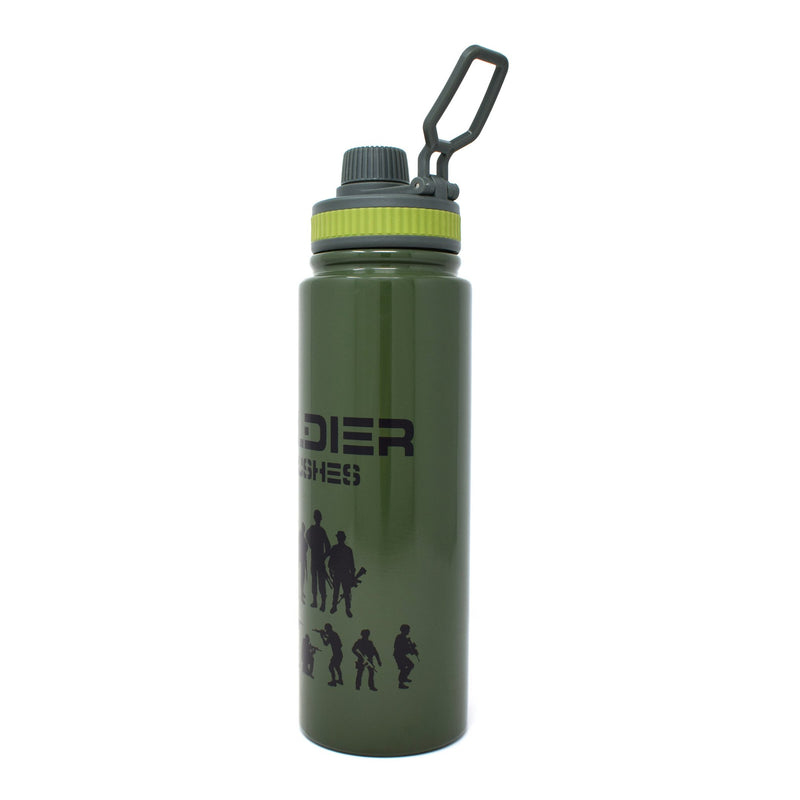 Style Homez RUGGED SOLDIER Flask, Vacuum Insulated Thermosteel Bottle Stainless Steel BPA Free Two Later, Army Green Color 800 ml