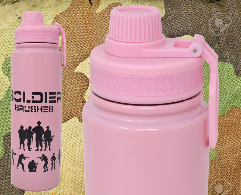 Style Homez RUGGED SOLDIER Flask, Vacuum Insulated Thermosteel Bottle Stainless Steel BPA Free Two Later, Pink Color 800 ml