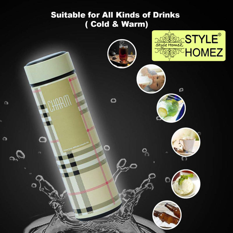 Style Homez Double Wall Vacuum Insulated Stainless Steel Flask BPA Free Thermos Travel Water Bottle Sipper 480 ml - Hot and Cold 12 Hours Cream Color (CHARM)