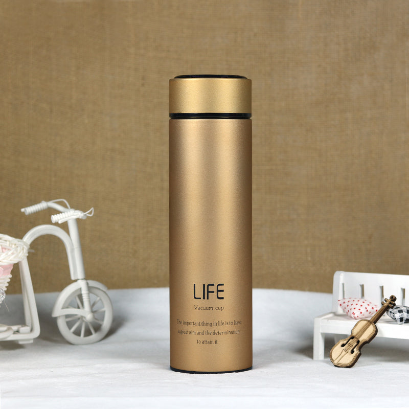 Style Homez Double Wall Vacuum Insulated Stainless Steel LIFE Flask BPA Free Thermos Travel Water Bottle Sipper 480 ml - Hot and Cold 12 Hours Champagne Gold Color
