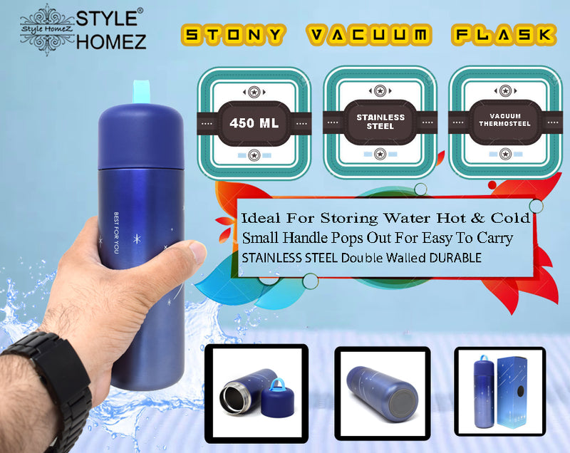 Style Homez STONY Flask  Vacuum Insulated Thermosteel Bottle  Stainless Steel Thermos BPA Free  Egyptian Blue Color 450 ml