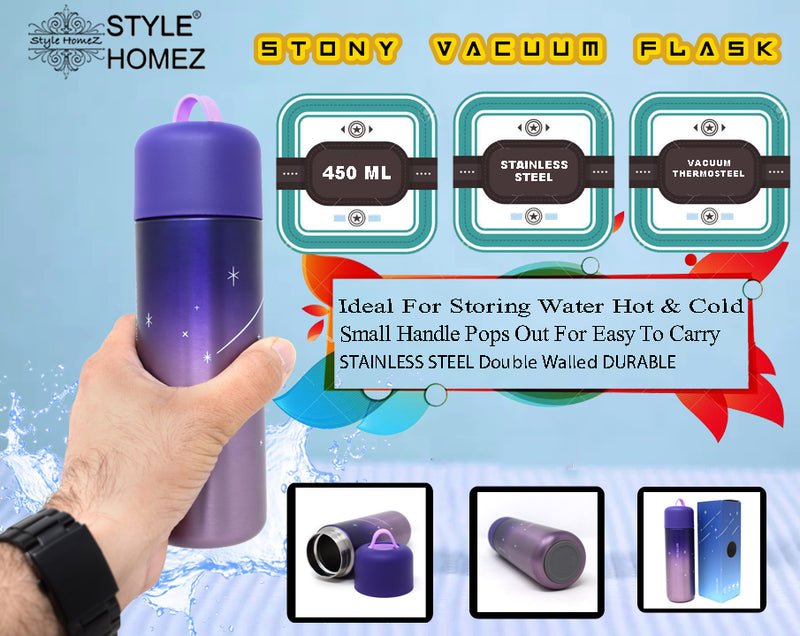 Style Homez STONY Flask  Vacuum Insulated Thermosteel Bottle  Stainless Steel Thermos BPA Free  Lilac Purple Color 450 ml