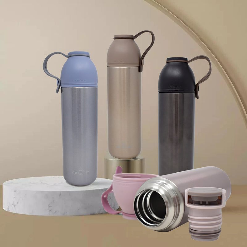 Style Homez YESWATER Flask The Skinny Vacuum Insulated Thermosteel Bottle Stainless Steel Thermos BPA Free MAST Black Color 450 ml