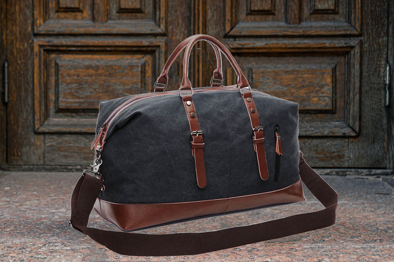 Style Homez AMERICAN Pure Leather Canvas Weekender Duffle Over Size Luggage Bag  Vintage Style 45 Litres Bryant Black Color (For Men and Women)