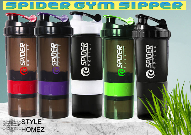 Style Homez SPIDER Gym Sipper Protein Shaker Water Bottle BPA Free Black Red Color 500 ml