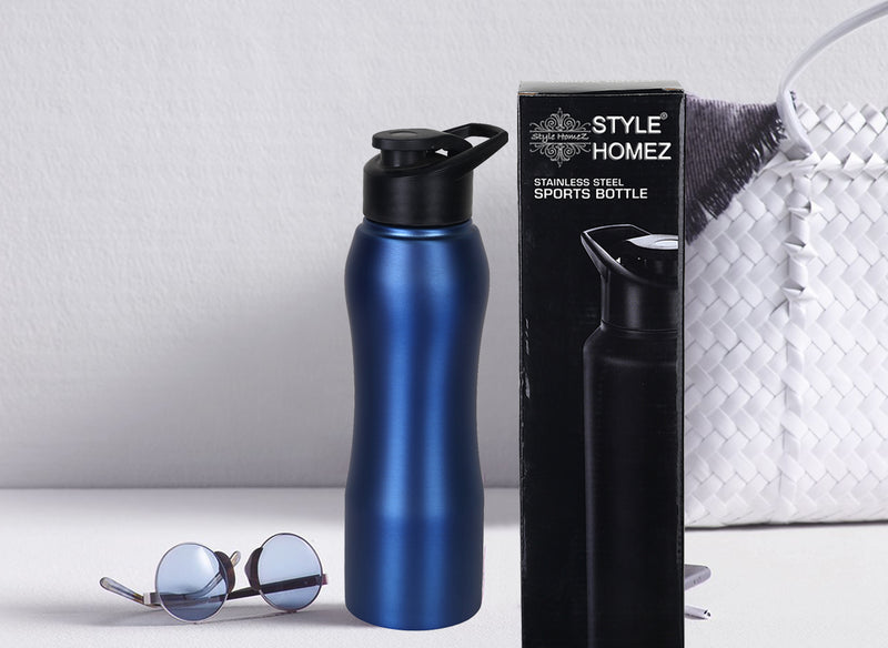 Style Homez Stainless Steel Water Bottle, Gym Sipper BPA Free Food Grade Quality Blue Color 750 ml
