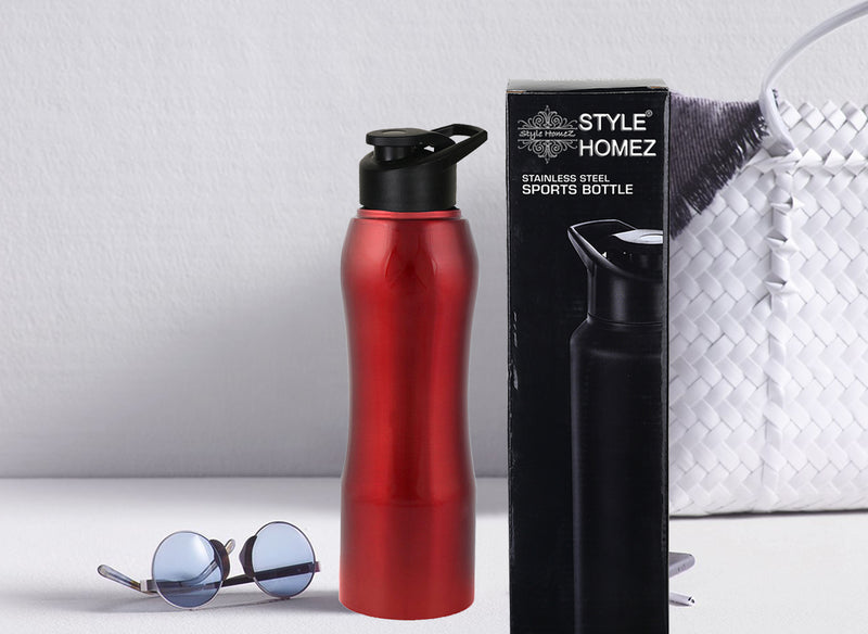 Style Homez Stainless Steel Water Bottle, Gym Sipper BPA Free Food Grade Quality Red Color 750 ml
