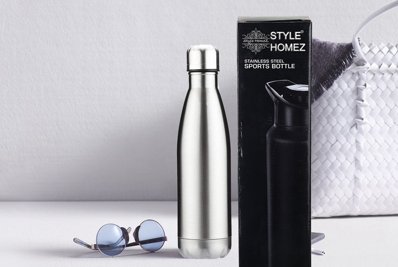 Style Homez Classic Stainless Steel Water Bottle, Gym Sipper BPA Free Food Grade Quality Silver Color 750 ml