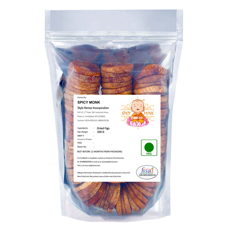 Spicy Monk Premium Quality Dried Figs 0.2 kg (200 gms) - King Size Afgani AnjeerA Grade