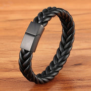 Stainless Steel Leather Men's Bracelet with Multi-Color Magnet Buckle