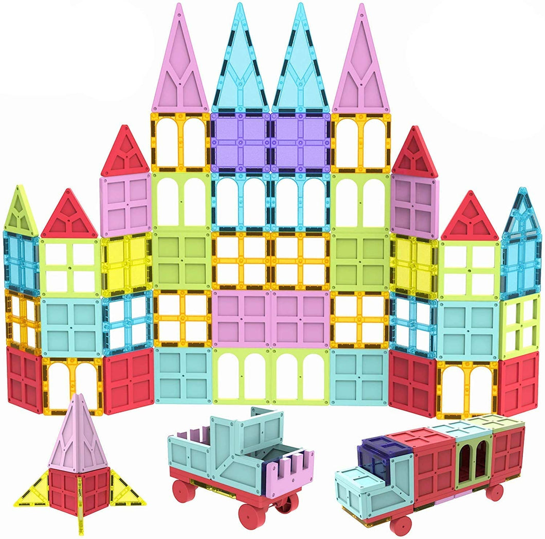 Mobi-Mags Magnetic Building Tiles for Kids - 100 Pieces STEM Toy Set