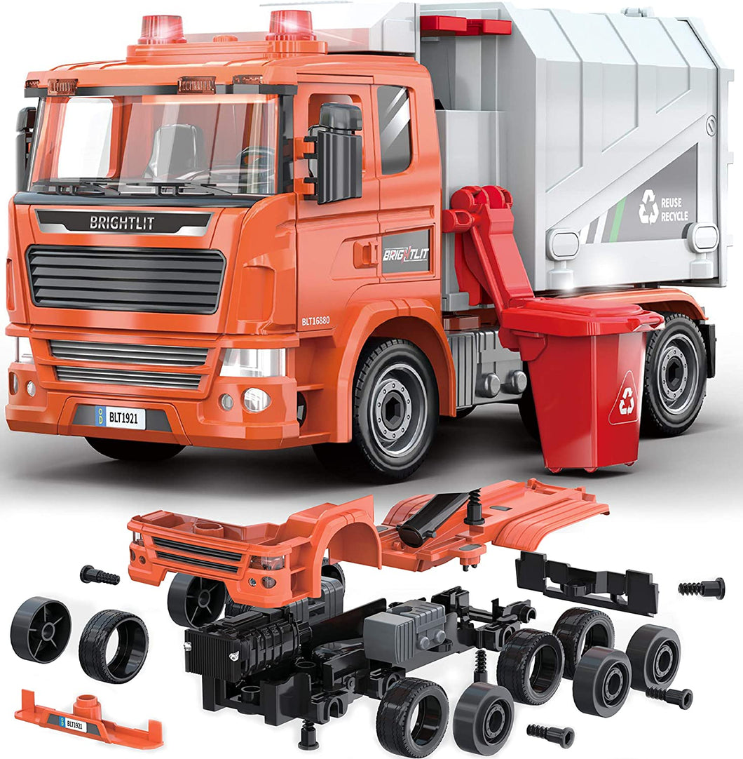 Recycling Truck -109 Pcs Take Apart STEM Toys Build Your Own Garbage Sanitation Truck