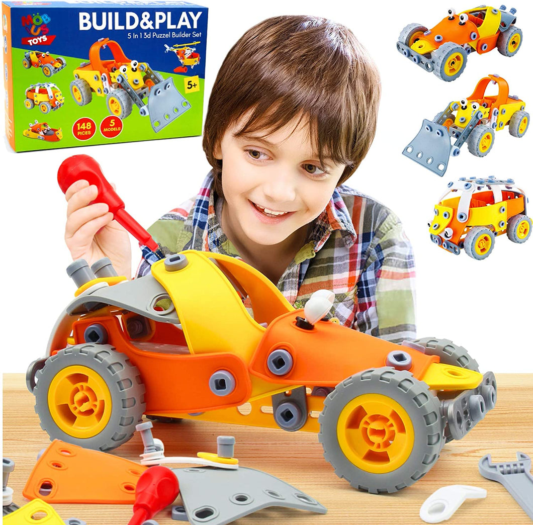 5-in-1 Building Toys for Kids - 148 Pcs Educational STEM Learning Toy
