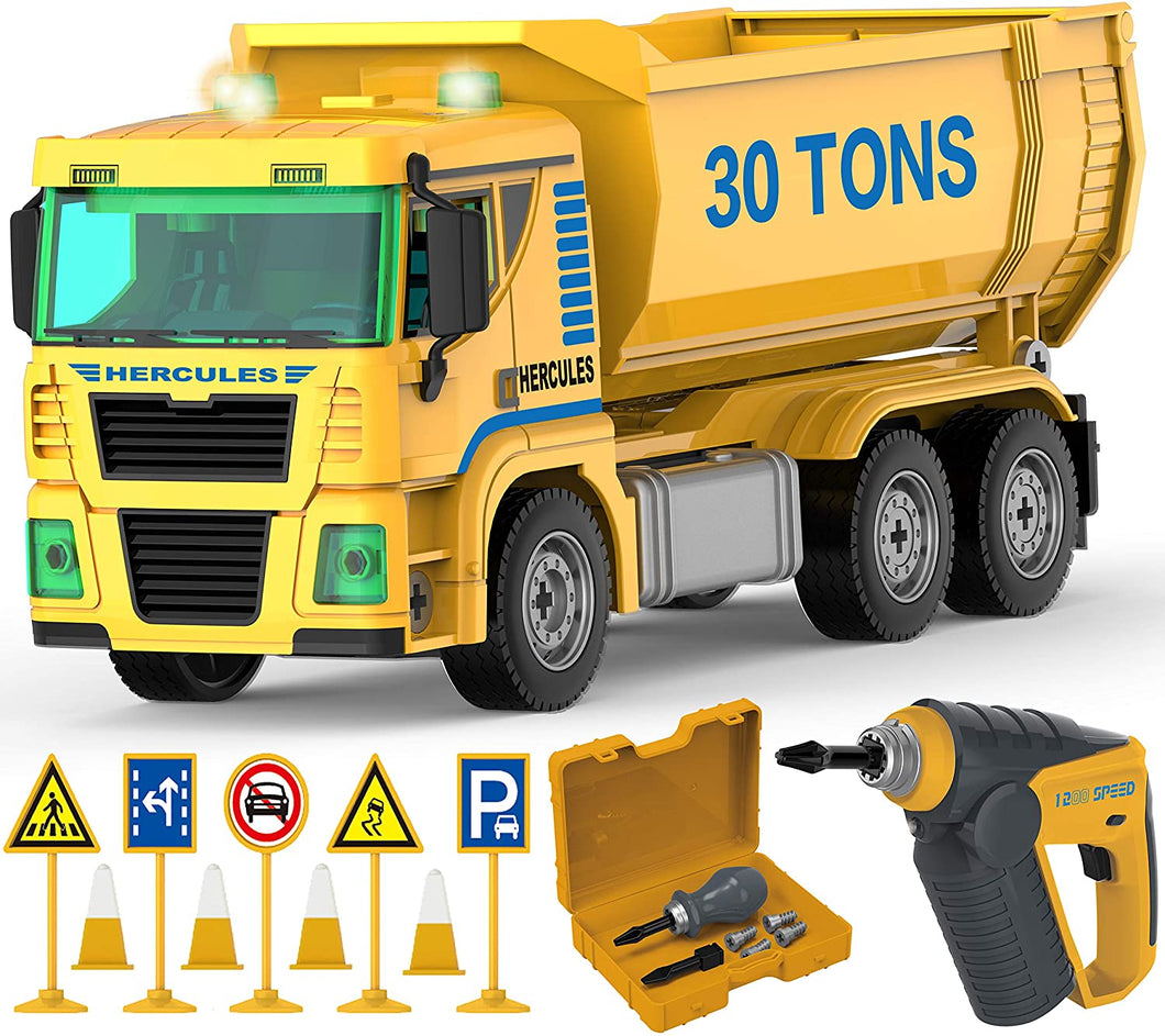 Construction Dump Truck Playset - 96 Pcs STEM Toys Take Apart Toy with Drill Tool