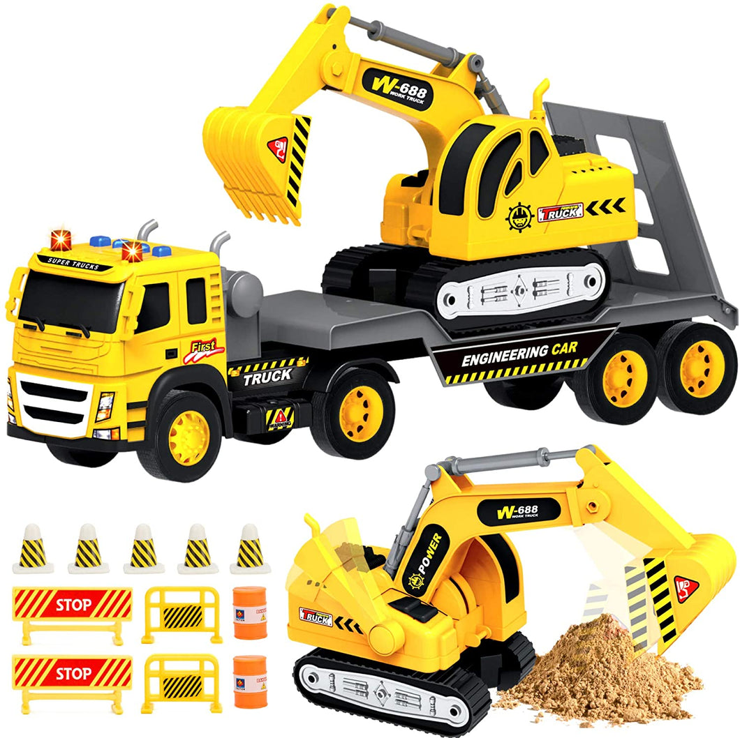 1:12 Scale Flatbed Truck with Excavator Tractor