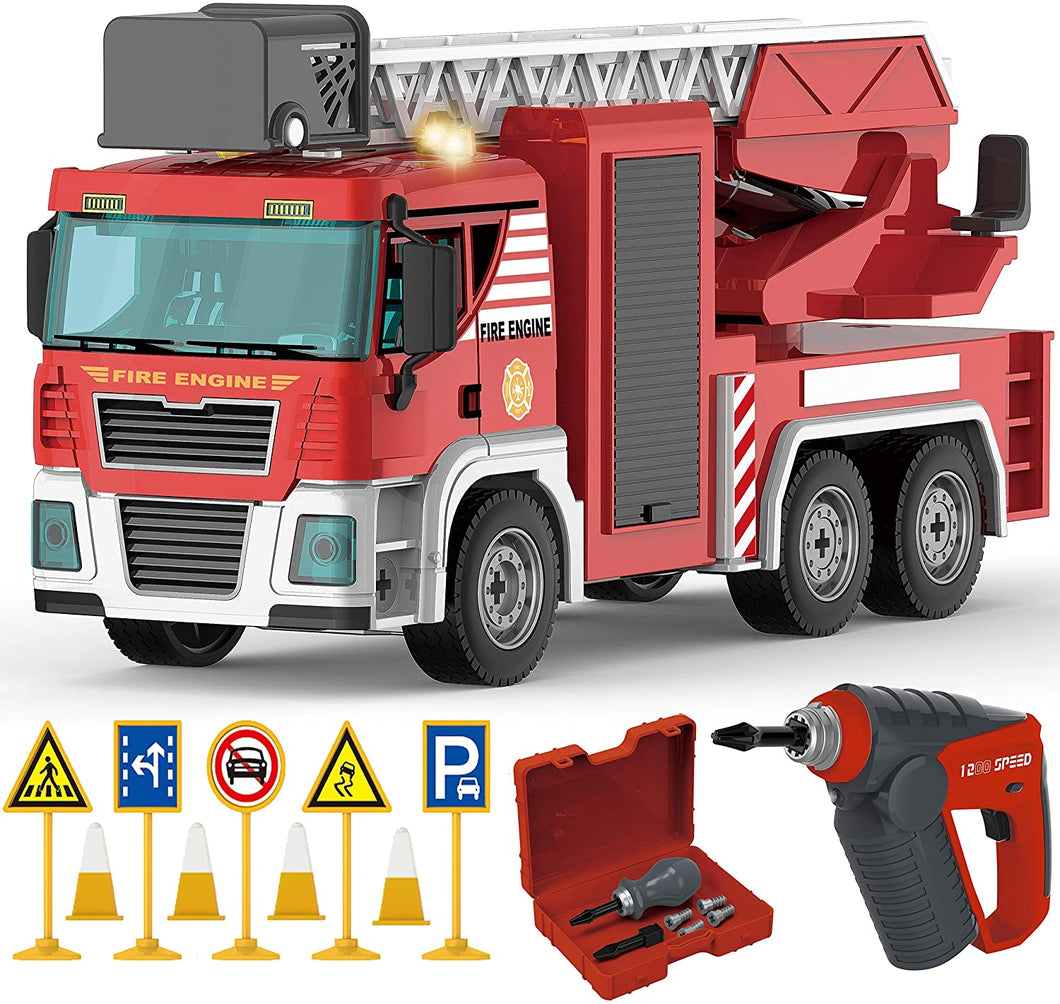 Fire Truck Playset - 95 Pcs STEM Toys Take Apart Toy with Drill Tool