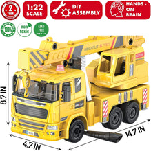 Load image into Gallery viewer, Crane Truck -115 Pcs Take Apart STEM Toys Build Your Own Construction Truck