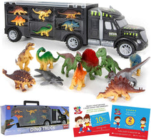 Load image into Gallery viewer, Dinosaur Truck Carrier – 12 Toy Dinosaurs Playset with a Dinosaur Car