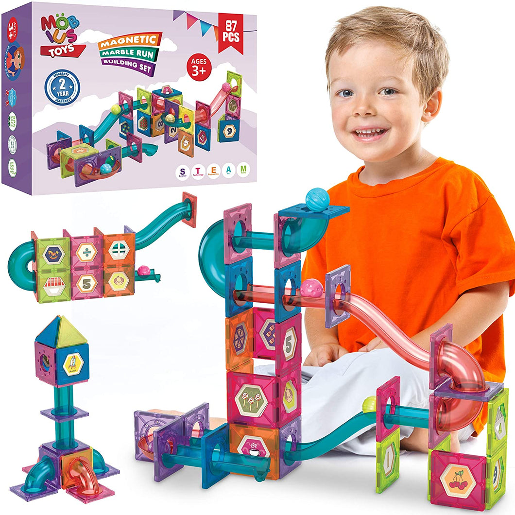 Magnetic Marble Run Building Set - 87 Piece