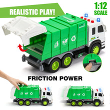Load image into Gallery viewer, Garbage Truck Friction-Powered 1:12 Scale