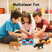 Load image into Gallery viewer, Monster Truck Toy Set - 2 Trucks + 2 Toy Animals