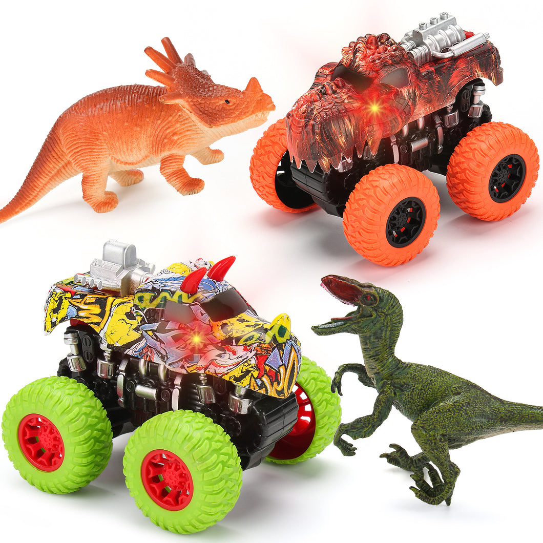 Monster Truck Toy Set - 2 Dinosaur Trucks + 2 Toy Dinosaurs