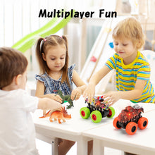 Load image into Gallery viewer, Monster Truck Toy Set - 2 Dinosaur Trucks + 2 Toy Dinosaurs