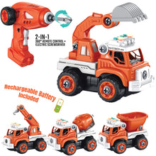 Load image into Gallery viewer, RC Take Apart Construction Trucks Set 4 in 1 with Electric Drill - Orange