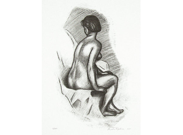 nude female facing with her back