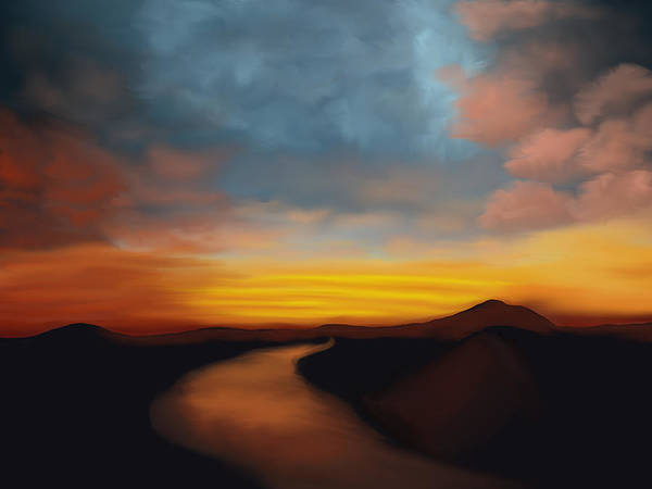 River st Sunset - Art Print