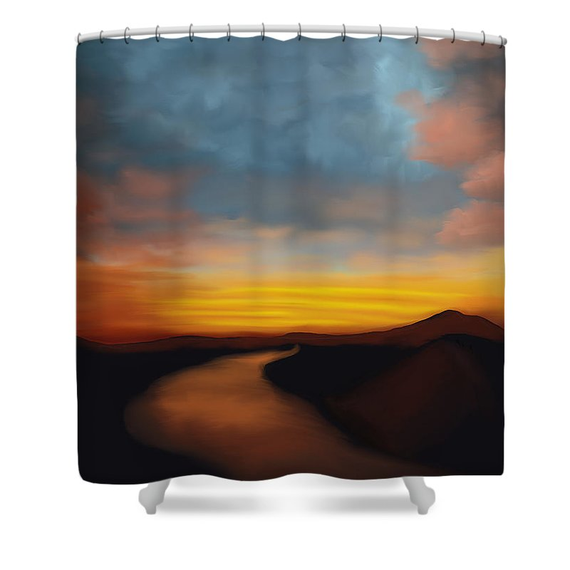 River st Sunset - Shower Curtain