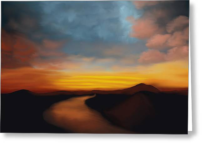 River st Sunset - Greeting Card