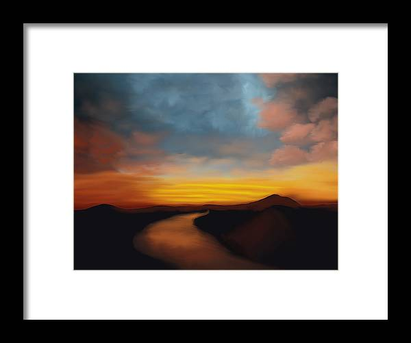 River st Sunset - Framed Print