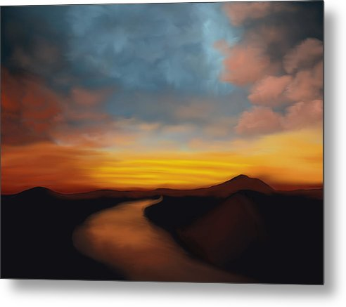 River st Sunset - Metal Print