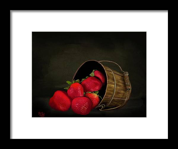 Still Life Strawberries - Framed Print
