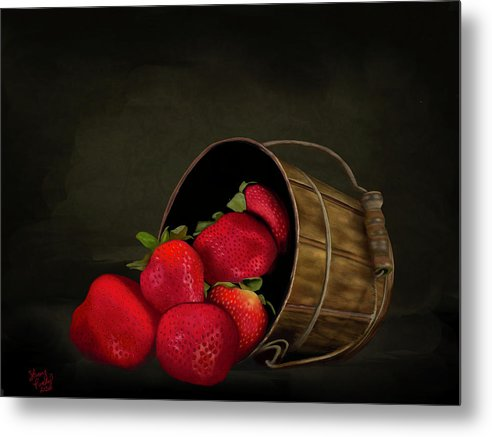 Still Life Strawberries - Metal Print