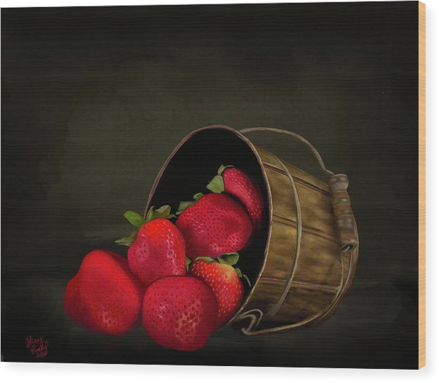 Still Life Strawberries - Wood Print