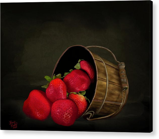 Still Life Strawberries - Acrylic Print