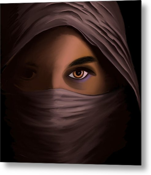 Woman in Shadow - Metal Print