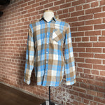 Men's Blue/Brown Stitched Flannel Shirt