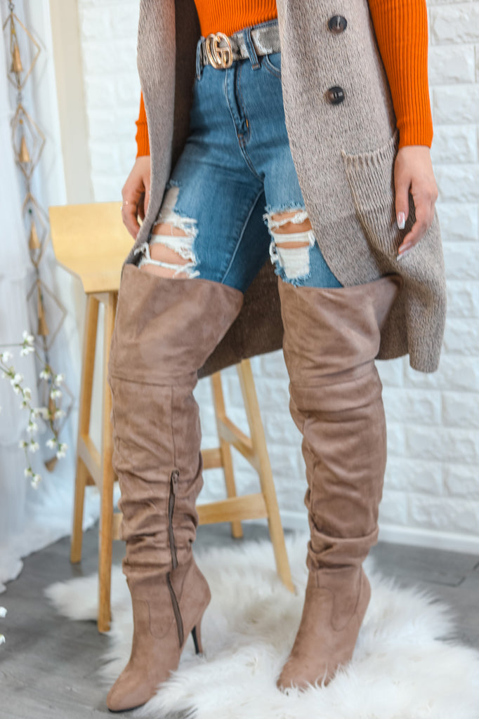 Unmatchable Pointy Slouchy Knee and Thigh High Boots Taupe - SURELYMINE