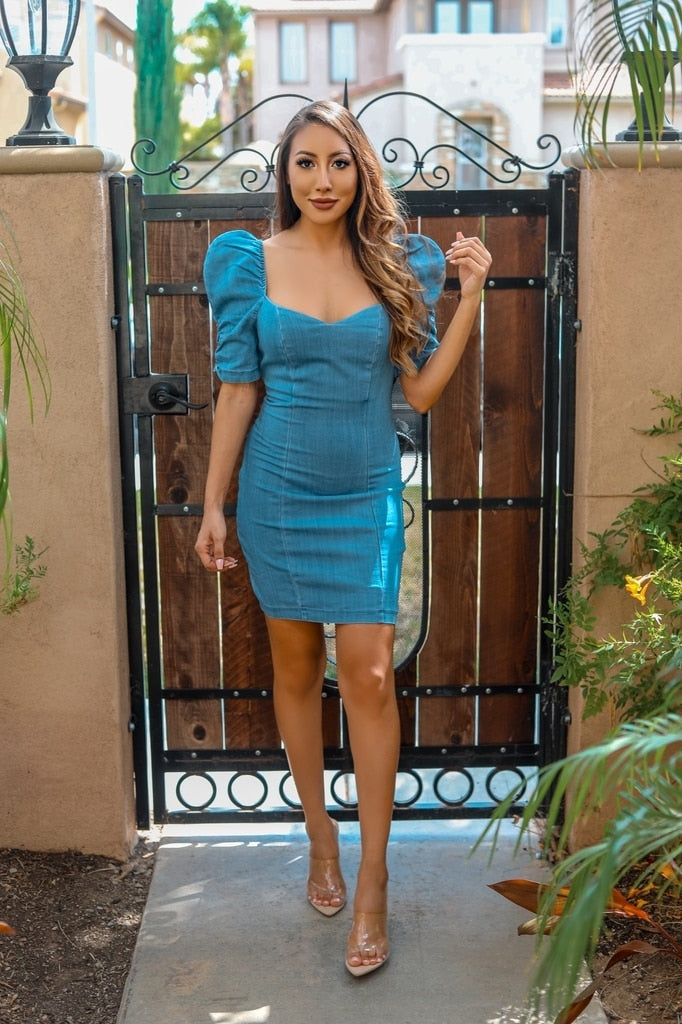 Isabella Bodycon Mini Denim Dress