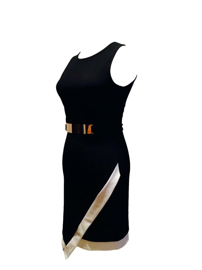 Asymmetrical Belted Bodycon Midi Dress Black