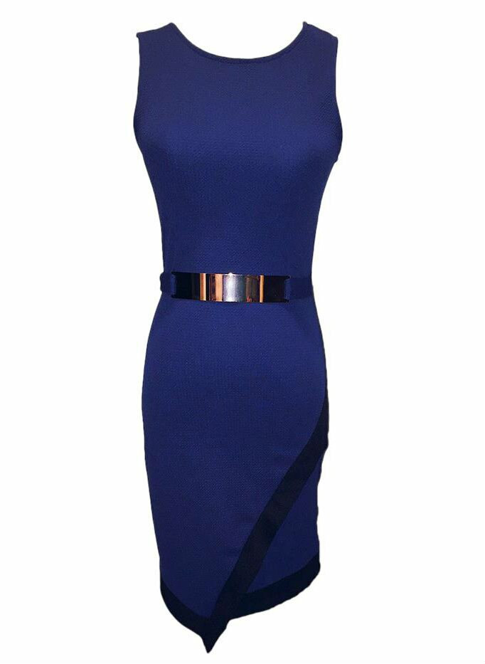 Asymmetrical Belted Bodycon Midi Dress Blue - SURELYMINE