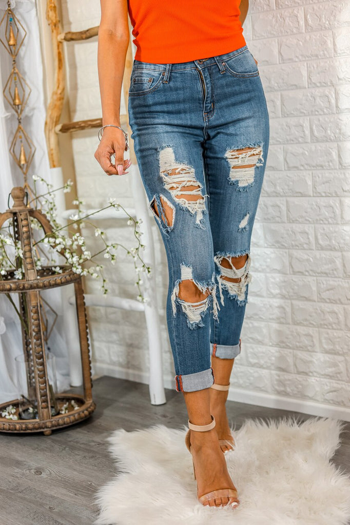 Split Decision Ripped High Waisted Boyfriend Jeans - SURELYMINE