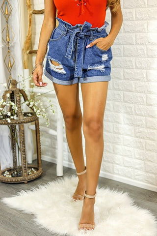 Wrap Me Paper Bag Distressed Denim Shorts - SURELYMINE