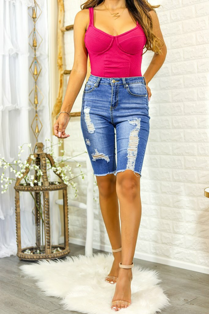 Baily Bermuda Distressed Denim Shorts - SURELYMINE