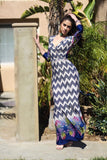 Alicia Chevron Bohemian 3/4 Sleeve Dotted Print Long Maxi Dress