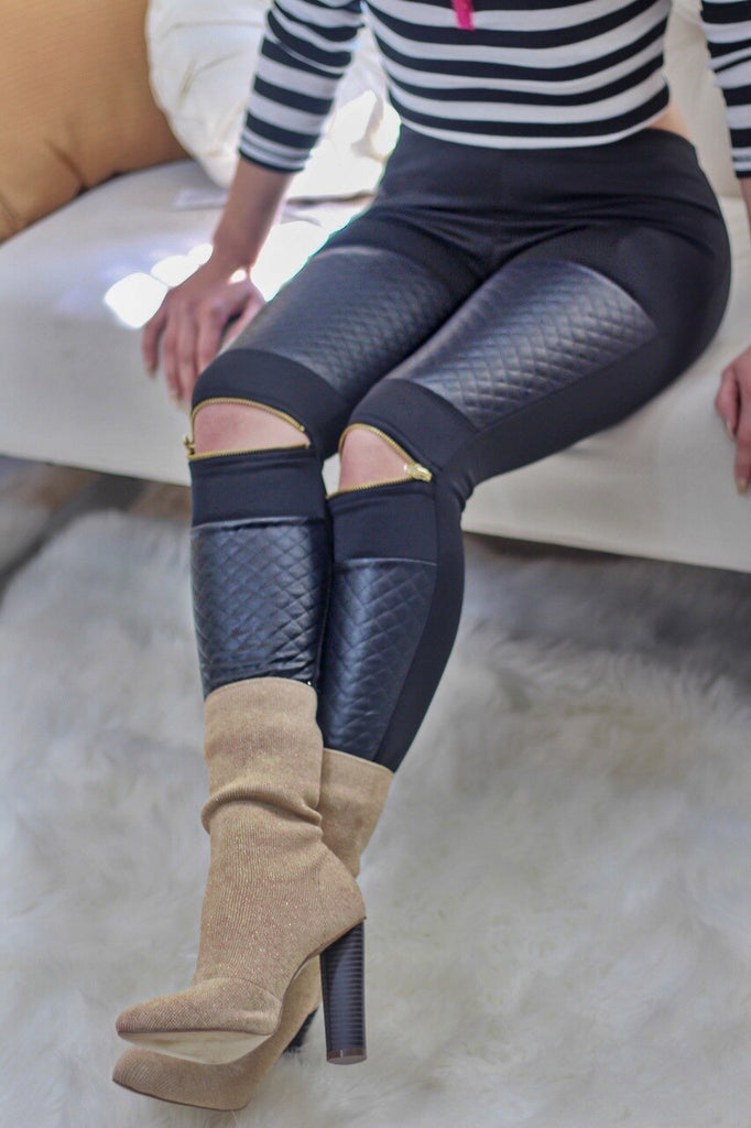 The Lager Zip Leggings Black - SURELYMINE